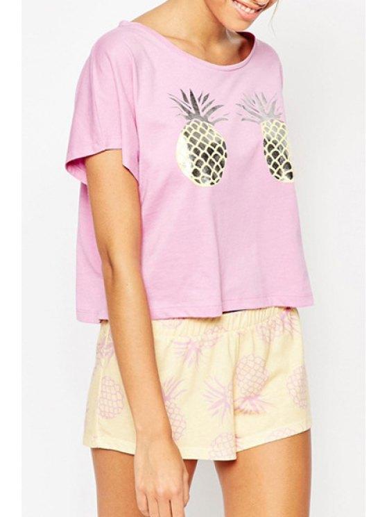 hot Short Sleeves Pineapple Print T-Shirt - PINK S
