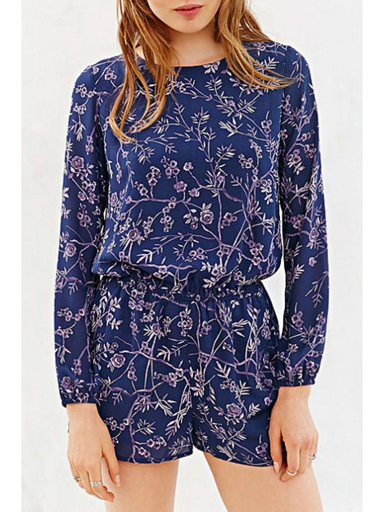 fashion Long Sleeve Floral Print Cut Out Romper - BLUE XS