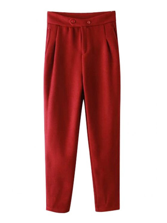 shop Solid Color Two Buttons Zipper Fly Pants - RED S