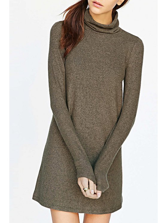 affordable Solid Color Knitted Sweater Dress - BROWN XS