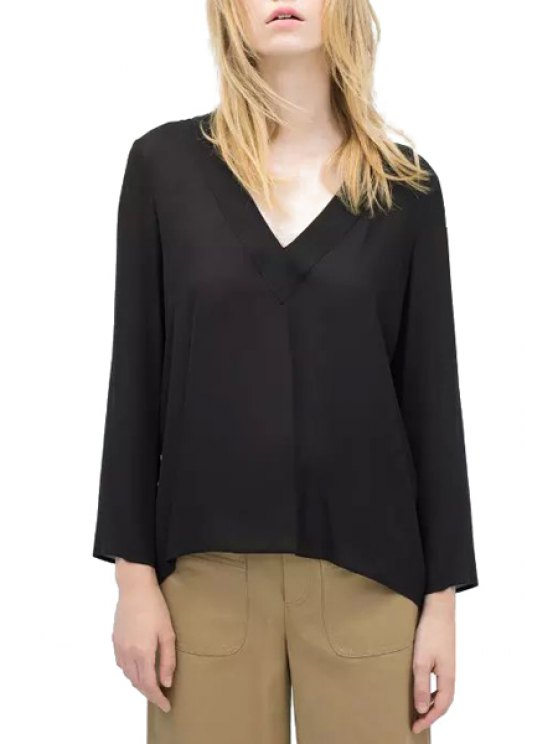 new Solid Color High Low Long Sleeve T-Shirt - BLACK S