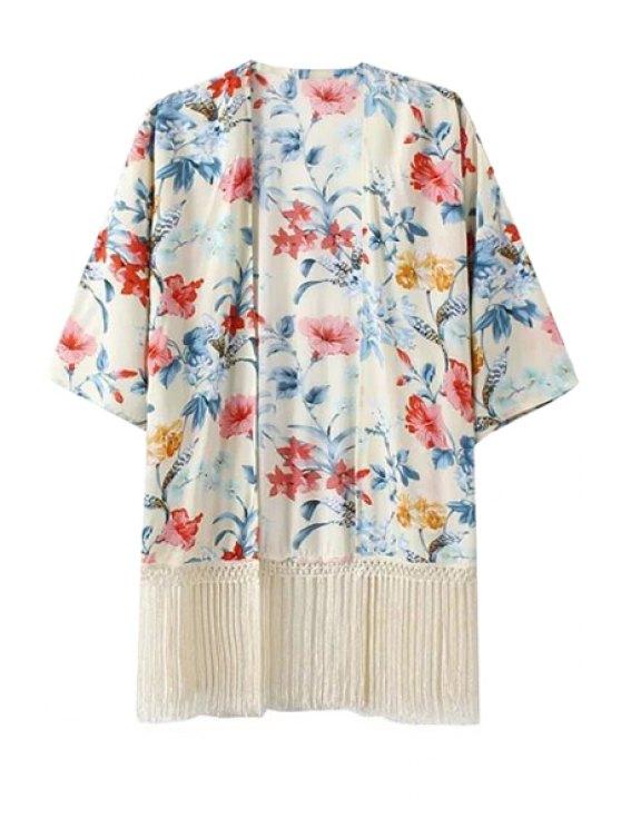 shops Half Sleeve Fringe Floral Print Kimono - WHITE S