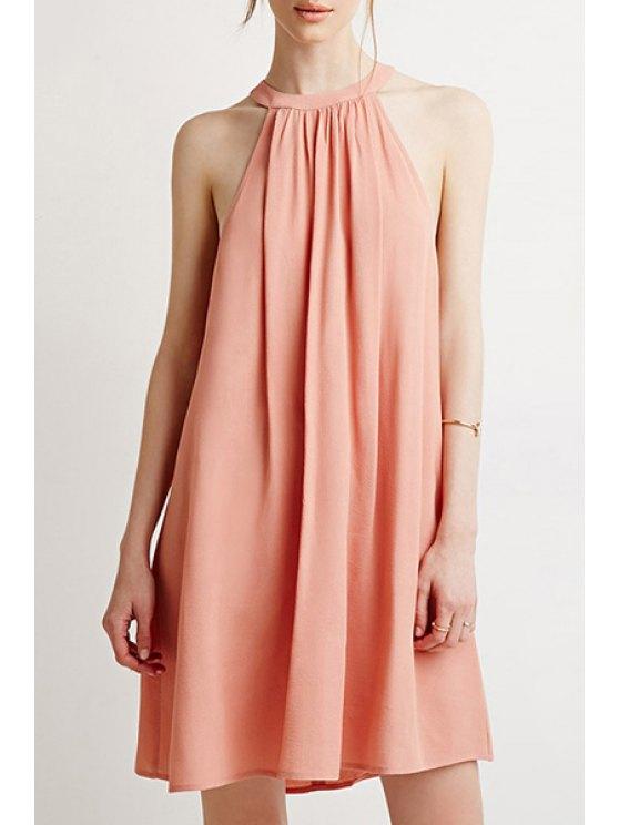 trendy Light Pink Round Neck Sleeveless Dress - LIGHT PINK S