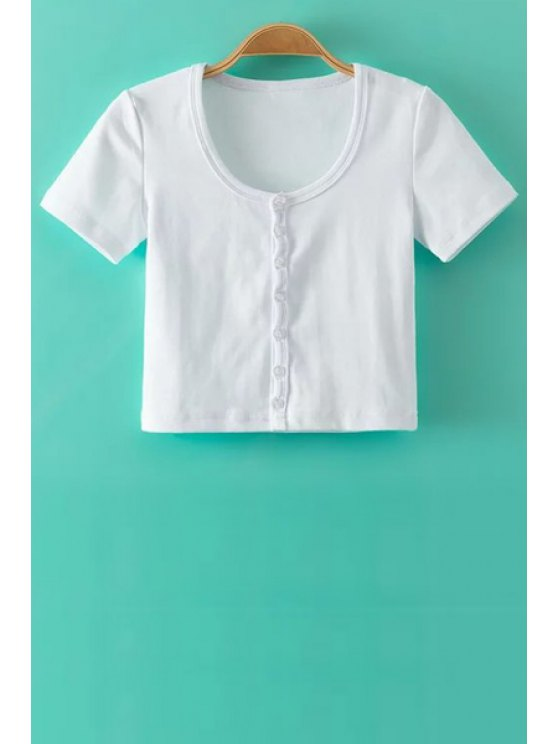 buy Single-Breasted Short Sleeve Crop Top - WHITE L