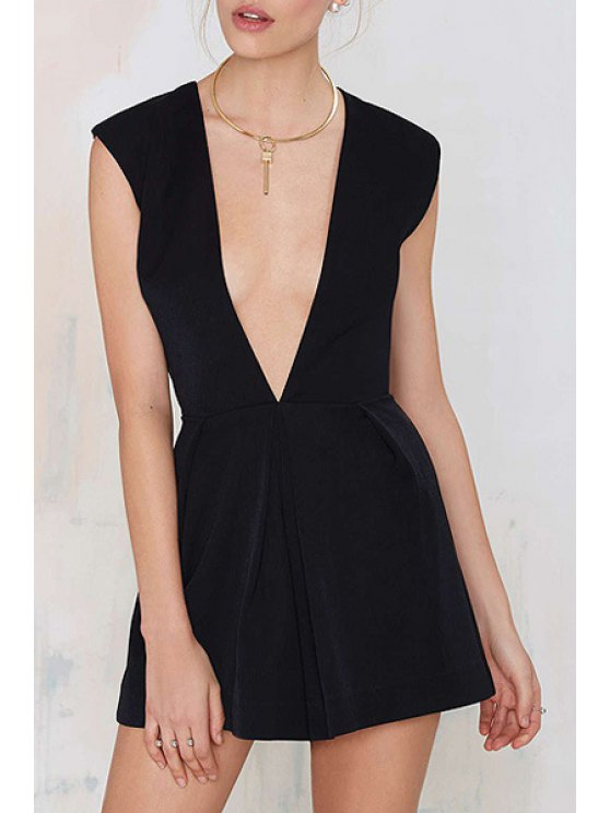 ladies Plunging Neck Sleeveless Zippered Black Romper - BLACK XS