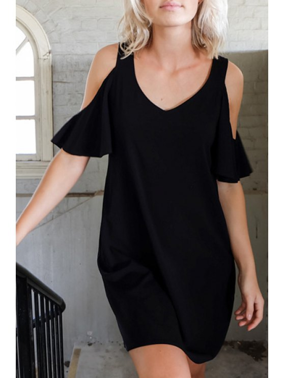 women's Black Cut Out Short Sleeve Dress - BLACK S