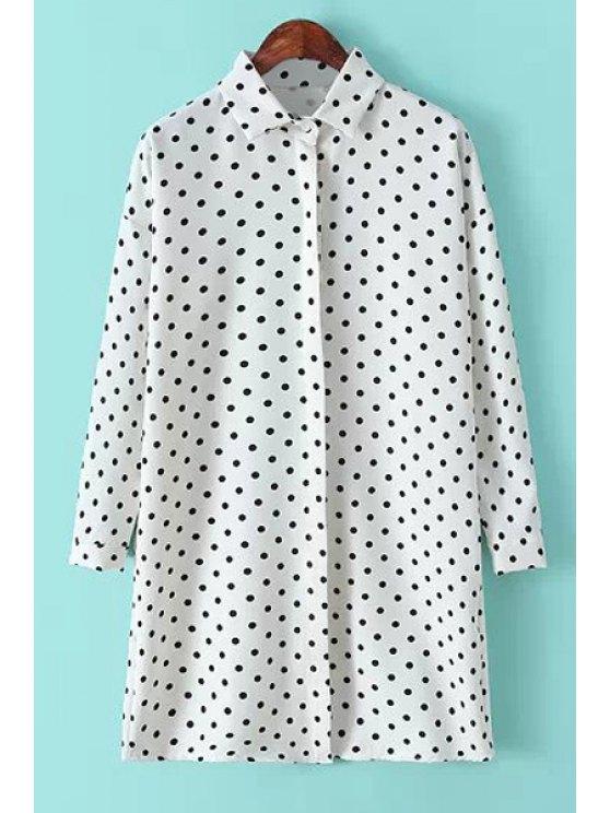 online Polo Collar Black White Polka Dot Shirt - WHITE ONE SIZE(FIT SIZE XS TO M)