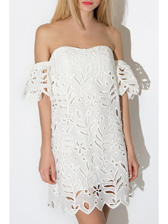 latest White Hollow Slash Neck Short Sleeve Dress - WHITE S