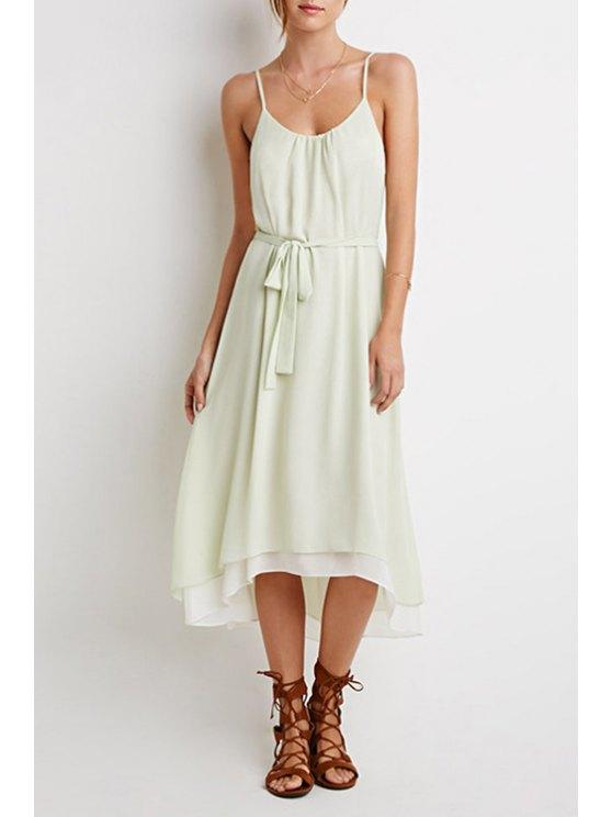 affordable Mint Green Spaghetti Strap Chiffon Dress - MINT GREEN S