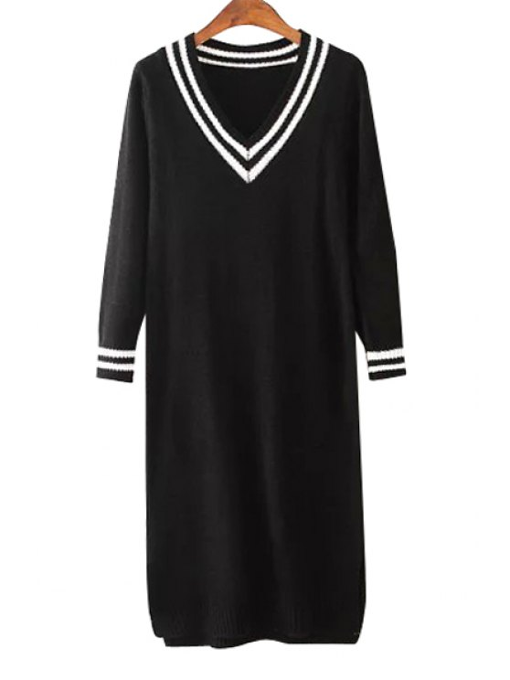 lady White Stripe Long Sleeve Knitted Dress - BLACK ONE SIZE(FIT SIZE XS TO M)