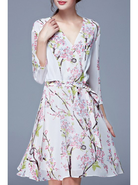 hot Tiny Floral Print Elastic Waist Long Sleeve Dress - WHITE S