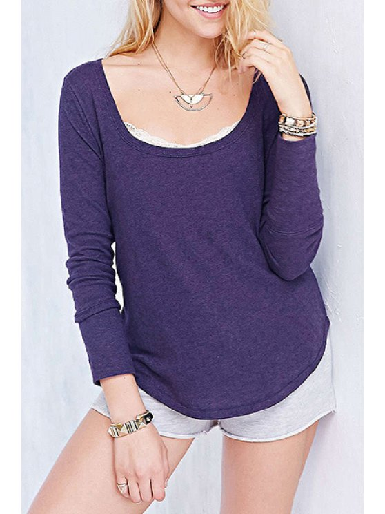 new Solid Color Irregular Hem Knitted T-Shirt - PURPLE XL