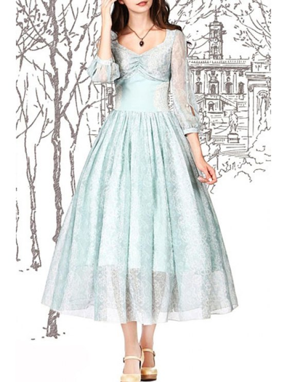 fashion Solid Color 3/4 Sleeve Flare Lace Dress - CELADON S