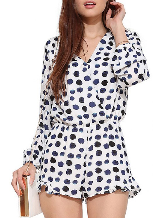 shops Long Sleeve Polka Dot Flouncing Romper - WHITE XS