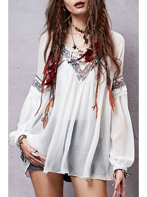 ladies Vintage Embroidery Long Sleeve Blouse - WHITE S
