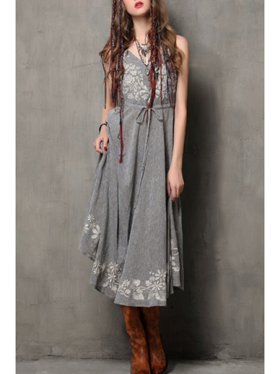 outfit Floral Embroidery Spaghetti Strap Flare Dress - GRAY S