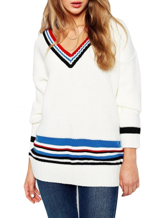 shops V-Neck Colorful Stripe Long Sleeve Sweater - WHITE ONE SIZE(FIT SIZE XS TO M)