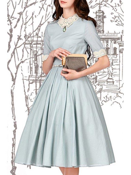 trendy Lace Spliced Turn-Down Collar Flare Dress - LIGHT BLUE S