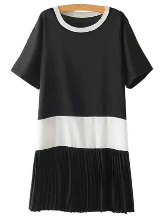 ladies Color Block Pleated Dress - BLACK ONE SIZE(FIT SIZE XS TO M)