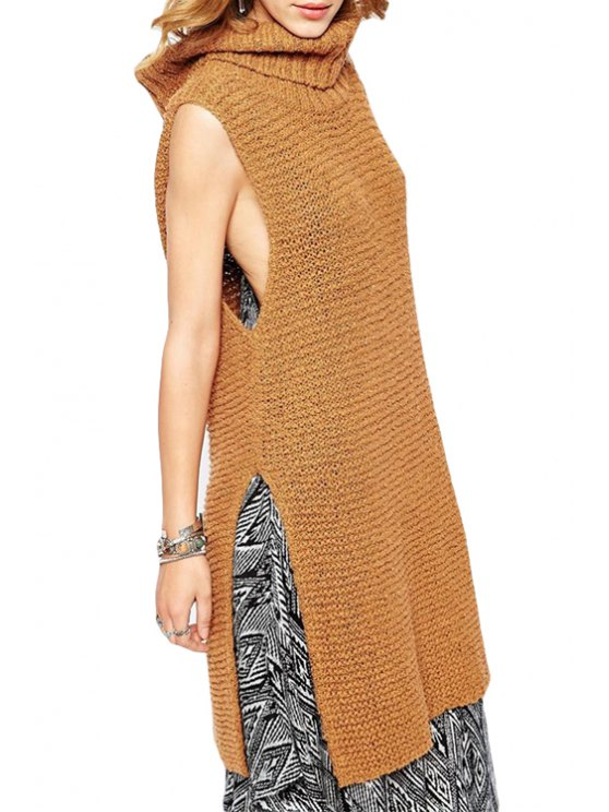 chic Turtle Neck Solid Color Side Slit Sweater - LIGHT BROWN ONE SIZE(FIT SIZE XS TO M)