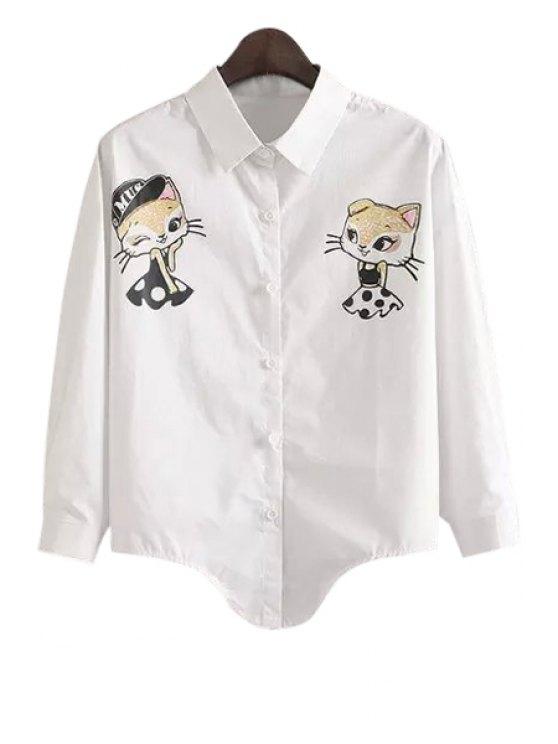 online Shirt Collar Kitten Print Single-Breasted White Shirt - WHITE M