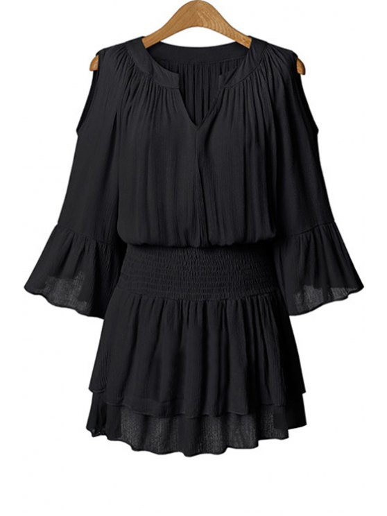 affordable Ruffle Solid Color Elastic Waist 3/4 Sleeve Dress - BLACK XL