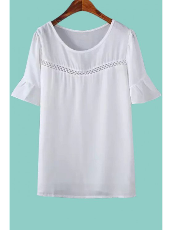 outfit Lace Spliced Hollow White Blouse - WHITE ONE SIZE(FIT SIZE XS TO M)