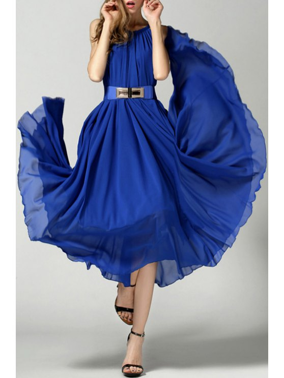 women's Spaghetti Strap Tie-Up Solid Color Belt Dress - BLUE ONE SIZE(FIT SIZE XS TO M)