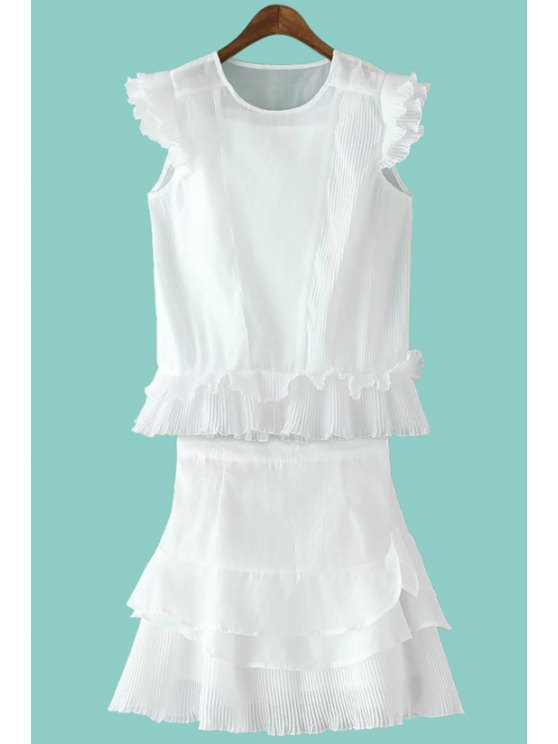 affordable White Chiffon Blouse + High-Waisted Flouncing Skirt Suit - WHITE S