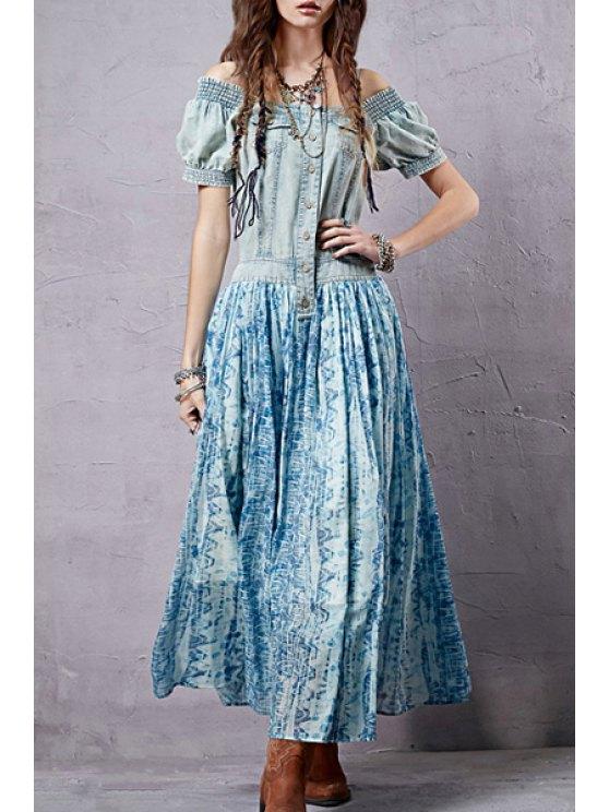 women's Print Spliced Square Neck Maxi Dress - BLUE S