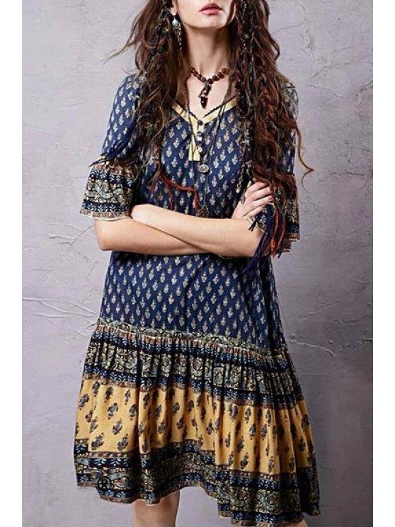 Ethnic Print V Neck Half Sleeve Dress - COLORMIX M Mobile