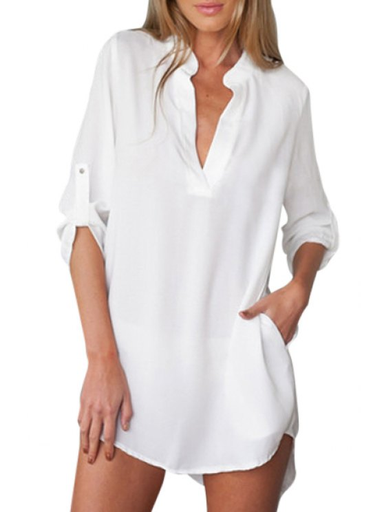 women Solid Color Plunging Neck Blouse - WHITE S