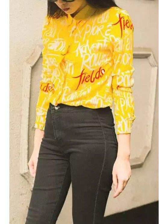 fashion Color Block Letter Print Long Sleeve Shirt - YELLOW M