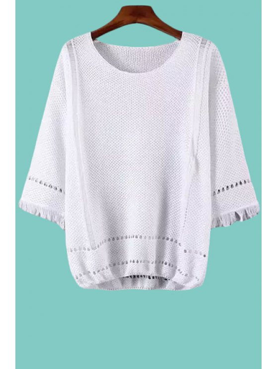 ladies Openwork Fringe 3/4 Sleeve Sweater - WHITE ONE SIZE(FIT SIZE XS TO M)