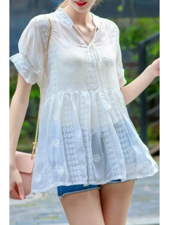 trendy Ruffles Embroidered Blouse + Spaghetti Strap Tank Top Twinset - WHITE S
