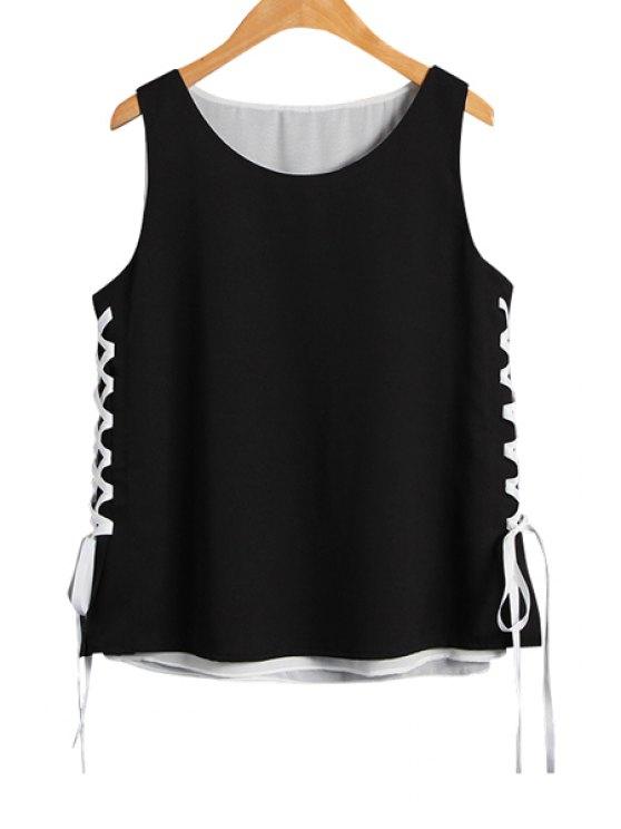 women's Lace-Up Scoop Neck Tank Top - BLACK S