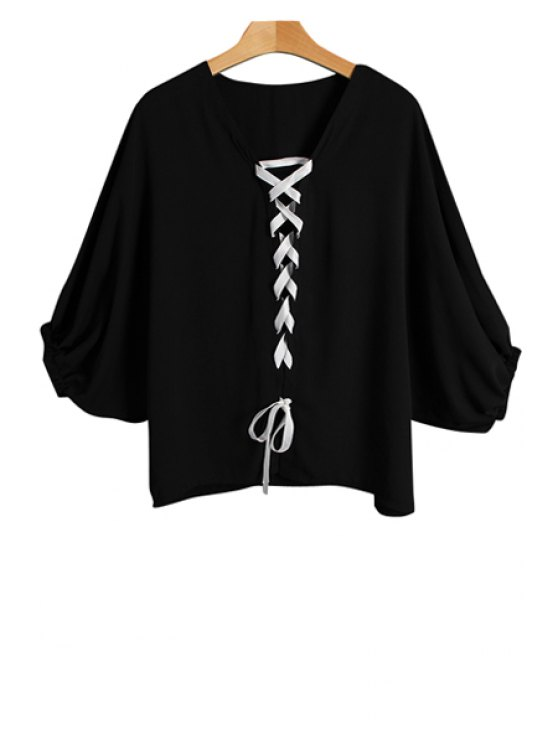 fancy Solid Color V Neck Bat-Wing Sleeve Blouse - BLACK ONE SIZE(FIT SIZE XS TO M)