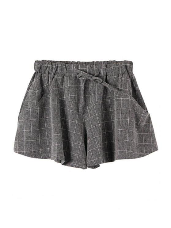 unique Checked Drawstring Wide Leg Pantskirt - CHECKED M