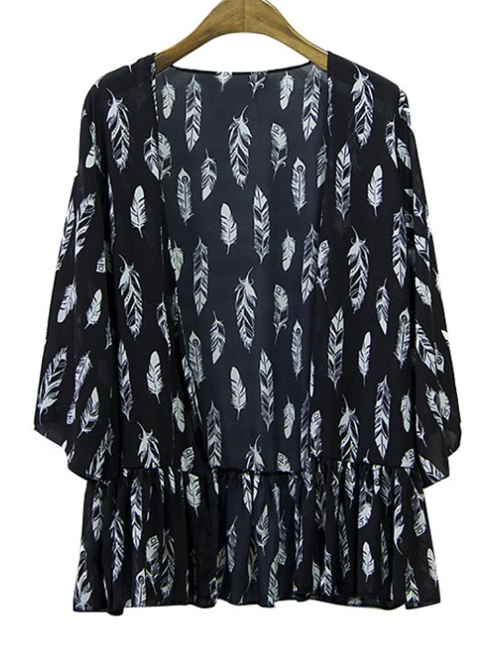 sale Feather Print Chiffon 3/4 Sleeve Blouse - BLACK ONE SIZE(FIT SIZE XS TO M)
