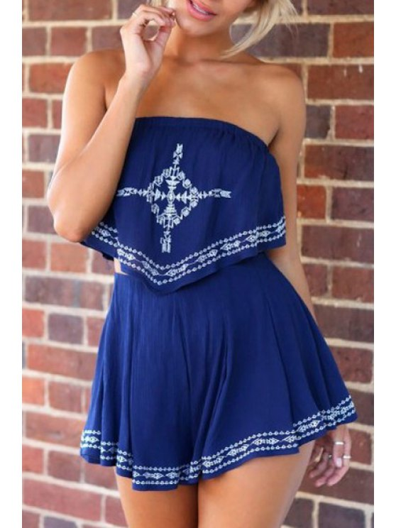 latest Strapless Crop Top + Printed Loose-Fitting Shorts Twinset - BLUE S