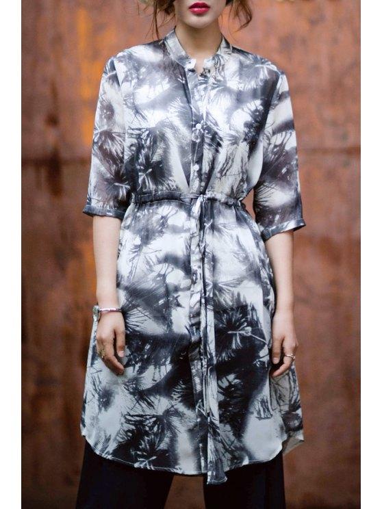 ladies Ink Print Stand Neck Half Sleeve Dress - WHITE AND BLACK S
