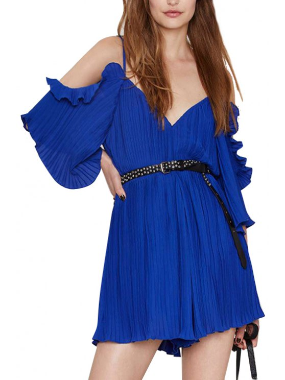 outfit Spaghetti Strap Solid Color Ruffle Backless Romper - SAPPHIRE BLUE S