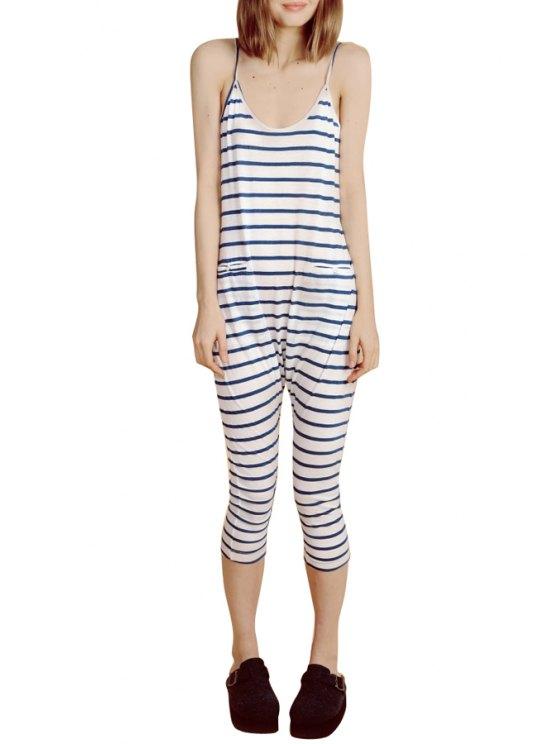 fancy Spaghetti Strap Blue White Stripe Sleeveless Jumpsuit - STRIPE S