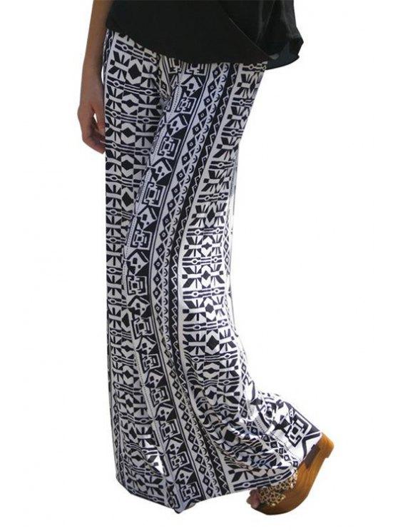 trendy Wide Leg Ethnic Pattern Pants - WHITE S