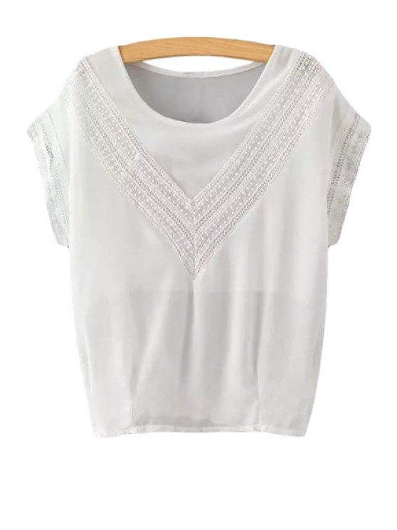 online Lace Chiffon Short Sleeve T-Shirt - WHITE S