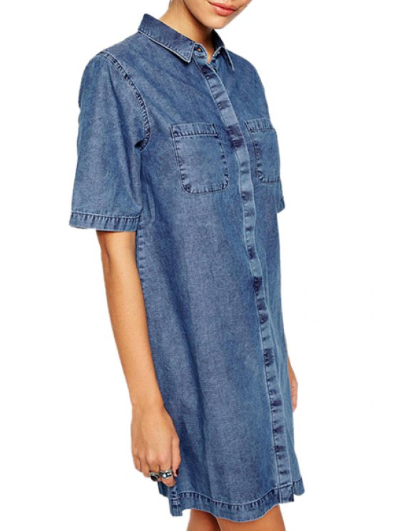 lady Bleach Wash Pocket Denim Short Sleeve Dress - BLUE XL