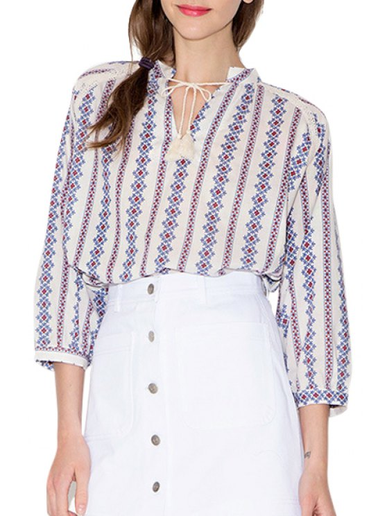 fancy Tiny Floral Embroidery Tie-Up 3/4 Sleeve T-Shirt - WHITE S