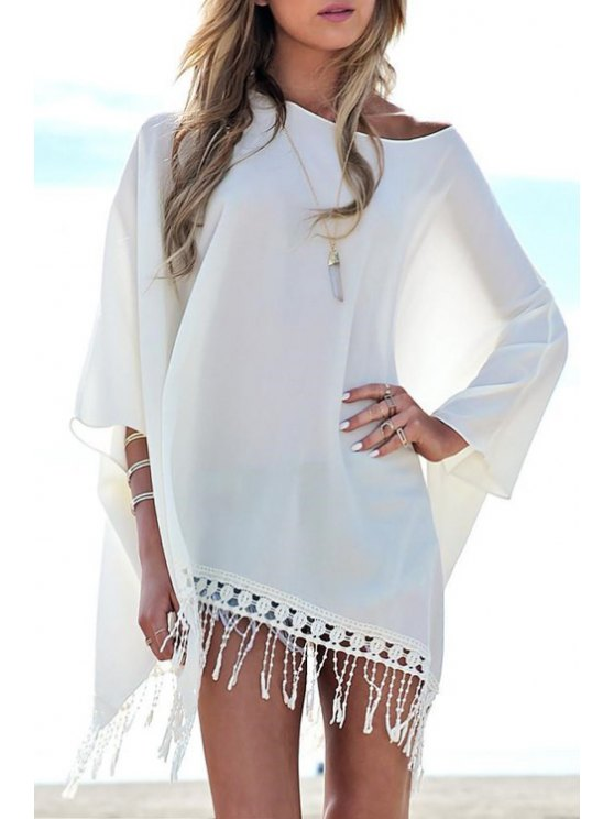 fancy Asymmetrical Tassels Spliced White Dress - WHITE S