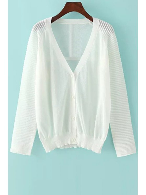 women's Solid Color V Neck Long Sleeves Cardigan - WHITE ONE SIZE(FIT SIZE XS TO M)