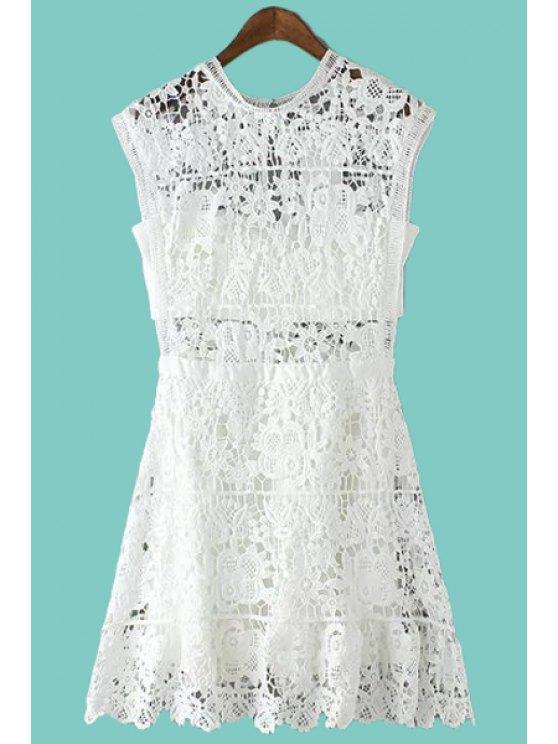 ladies White Crochet Flower A Line Sundress - WHITE S